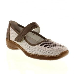 Rieker White Mary Jane Hook and Loop Shoes